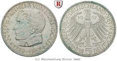 RITTER BRD, 5 DM 1957 J, Eichendorff, J. 391 #coins #numismatics