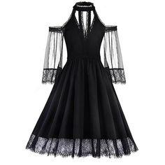 Romantic Gothic Cold Shoulder Lace Mesh Dress