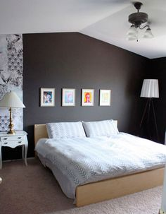 Dark Grey Bedroom Walls egyptian cotton with a darker grey statement wall. | living room