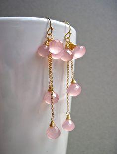 Light Pink Chalcedony Cluster Dangle Earrings by NellBelleDesigns