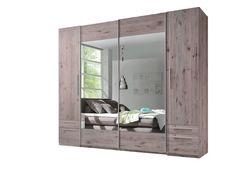 Tolóajtós szekrény, homoktölgy színben, 2 nyílóajtóval, 2 tükrös tolóajtóval, 4 fiókkal, 8 belső polccal, Szé/Ma/Mé: kb. 267/225/58cm