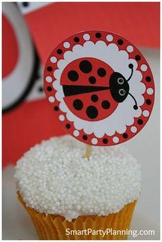 LadyBug cupcake topper #Printable #Ladybug #Cupcake