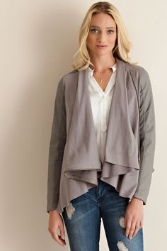 Solid mixed fabric draped blazer w/ ribbed fabric Apple Shape Outfits, Blazer, Ribbed Fabric, Wholesale Clothing, Normcore, Plus Size, Style Inspiration, Sweaters, Clothes