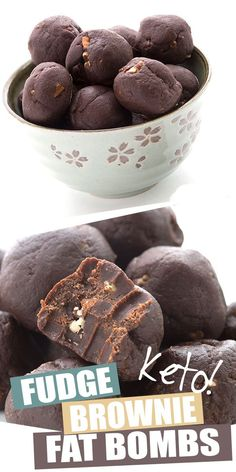 These keto brownie fat bombs are easy, delicious, and they store and travel really well. A perfect make-ahead snack to help you stick to your healthy low carb diet. Fudge Brownies, Brownies Caramel, Keto Fudge, Peanut Butter Bombs, Lemon Fat Bombs, Keto Chocolate Fat Bomb, Chocolate Recipes, Low Carb Candy, Menu