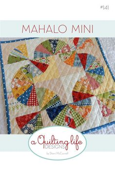 "PDF pattern for the 14"" x 14"" mini version of my full size Mahalo quilt. Pattern includes instructions for using applique' or curved piecing to create this fun block. Finished block size is perfect for a wall hanging, table topper, or pillow front. Templates are included for this project."