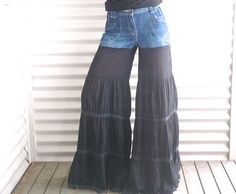 Bellbottom upcycled jeans flared black size M by immortalkraft, $55.00