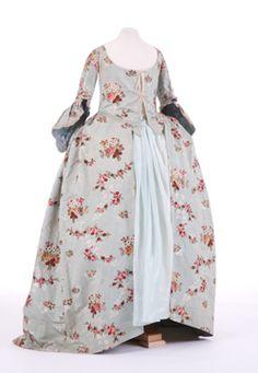 Blue brocaded silk sack-back dress, English, 1760s.