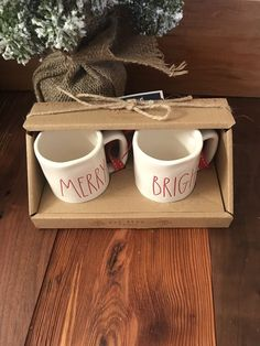 f473e45a163 Rae Dunn MERRY BRIGHT Mini Mug Christmas Ceramic Ornaments