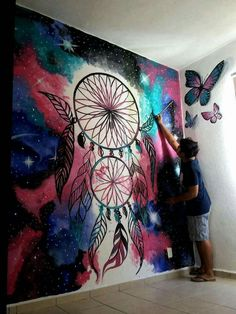 Parede quarto Graffiti Wall Art, Mural Wall Art, Canvas Wall Art, Dream Catcher Painting, Dream Catcher Art, Creative Wall Painting, Wall Painting Decor, Bedroom Wall Designs, Wall Art Designs