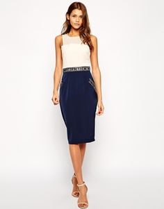 Little Mistress Midi Pencil Dress with Embellished Waist and Pockets
