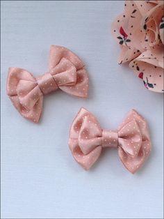 Light pink polka dots satin bow hair clip set / Small size clip on Etsy, $63.61 HKD
