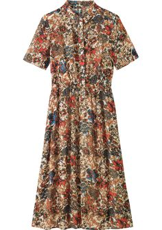 Women's Red Viscose Printed Shirt Dress | Toast