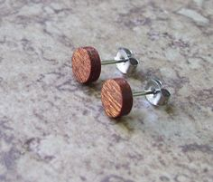 """Tiny Mahogany  Wood Stud Earrings, Natural Wooden Earring, Surgical stainless Steel Posts - 1/4""""(6mm) - 909 by OruAka on Etsy"""