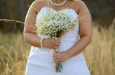 huge bunch of baby's breath and wheat sprouts are perfect for a rustic bride - thereddirtbride.com - see more of this wedding here Bridesmaid Bouquet, Wedding Bouquets, Bridesmaids, Wedding Dresses, Rustic Wedding, Our Wedding, Baby's Breath, Ever After, Wedding Attire