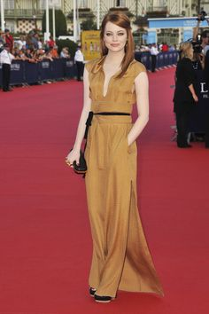 Roland Mouret's Burnt Gold - Style Crush: Emma Stone's Best Looks Ever, So Far - Photos