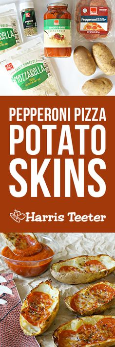 Ready for some football?  You will be with these Pepperoni Pizza Potato Skins, which combine two favorite appetizers in one delicious appetizer.  Make extra… these will go fast!
