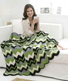 Ripple Strips Throw by Marianne Forrestal - Free Crochet Pattern - (redheart)