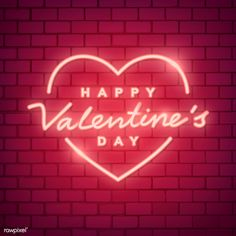 Neon light Happy Valentine's Day on brick wall Valentines Day Post, Happy Valentines Day Images, Be My Valentine, Valentines Wallpaper Iphone, Candy Hearts, Holiday Wallpaper, Valentines Day Background, Aesthetic Iphone Wallpaper, Neon Lighting
