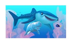 First look at the new characters from Pixar's Finding Dory Destiny (a whale shark) and Bailey (a beluga whale) will be voiced by Kaitlin Olson and Ty Burrell, respectively. Disney Pixar, Walt Disney, Disney Films, Disney Magic, Finding Dory Whale, Disney Finding Dory, Zootopia, Nemo Dori, Dreamworks