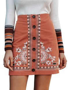 To find out about the Simplee Button Front Embroidered Skirt at SHEIN, part of our latest Skirts ready to shop online today! Bohemian Skirt, Boho, Short Skirts, Mini Skirts, Cotton Style, Lingerie Sleepwear, Vintage Style Outfits, High Waisted Skirt, Waist Skirt