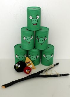 Angry Birds...we already have the cans! We can get the little beanbag birds @ 5 below & then make a few sling shots.