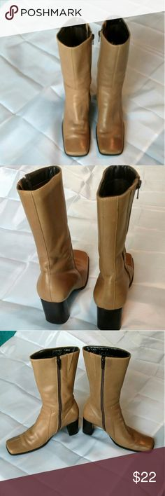 Nine West Rumrunner boots. Great condition! Great pair of Nine West Rumrunner boots.  Leather upper.  3 inch heels and 11 inches high.  Pretty mocha tan color.  Size 5 1/2 medium. Nine West Shoes Heeled Boots