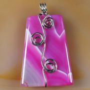 Pink Wire Wrap Onyx Agate Pendant with a choice of a 18 or 24 Silver Plated Chain