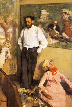 "Edgar Degas Portrait of Henri Michel-Levy, c. ""The subject - the artist in his studio - in this case the painter Henri Michel-Lévy, whom Degas met. Pierre Auguste Renoir, Edouard Manet, Edgar Degas, Degas Paintings, Degas Drawings, Gustave Courbet, Art Ancien, Mary Cassatt, Camille Pissarro"
