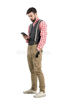 Photo about Relaxed young man in retro clothes typing message on smartphone. Full body length portrait isolated over white studio background. Image of cellphone, retro, hipster - 55383104 Man Full Body, White Studio Background, Punk, Graphic Design Tutorials, Retro Outfits, Young Man, Smartphone, Bomber Jacket, Stock Photos