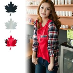 New Women Fashion Casual Splicing Plaid Loose T-shirt Tops Long Sleeve 3Colors