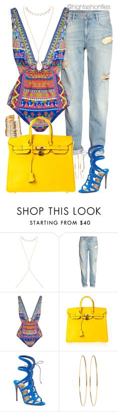 """""""Vacation"""" by highfashionfiles ❤ liked on Polyvore featuring Jacquie Aiche, H&M, Camilla, Hermès, Christian Louboutin, Jennifer Meyer Jewelry and ASOS"""