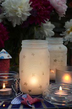 Perfect for July 4th! Mason Jar Star Lanterns