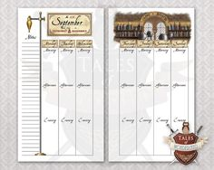 Potions - Personal Printable Weekly Planner - inspired by Harry Potter