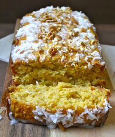 Tropical Mango Bread with Coconut Glaze and Chopped Pecans | #glutenfree