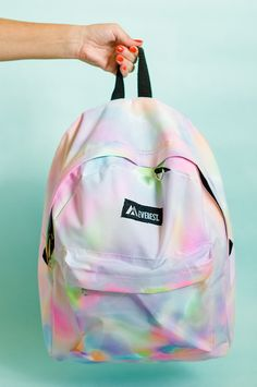 b754d2803a46 This DIY Rainbow Watercolor Backpack Is So Cool For School