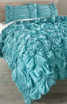 Don't like the color as much as the teal but its cheaper and gets better reviews.... Rizzy Home Ruched Knots Comforter (Nordstrom Exclusive) available at #Nordstrom