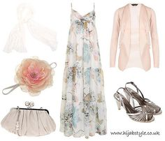 Great outfit for a semi-casual event.     Beautiful summer printed dress w pale pink, soft blue, grey & silver.