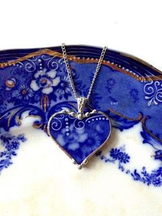 An idea Beautiful antique Flow Blue rose broken china jewelry heart pendant necklace . I LOVE the idea of making things(anything)out of broken china,so pretty! Heart Jewelry, Glass Jewelry, Beaded Jewelry, Jewelry Necklaces, Handmade Jewelry, Prom Jewelry, Bullet Jewelry, Gothic Jewelry, Broken China Jewelry