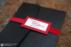 red black and white wedding | Red, black, and white wedding invitation with monogrammed ribbon tag