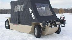 If you love ice-fishing the Wilcraft could be for you.  It's amphibious, highly maneuverable, can carry a 600lb payload, gets around 20mpg and has a top speed of  20mph.  In other words, it makes ice fishing fun, not frightening.