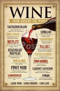 Vin världen runt - Posters på AllPosters.se