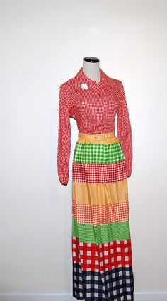 Vintage Dress Red Gingham 60s by CheekyVintageCloset on Etsy, $34.00