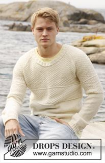 """Maglione da uomo DROPS a maglia di riso doppia e raglan, in """"Lima"""" o in """"Merino Extra Fine"""". Taglie: dalla S alla XXXL. ~ DROPS Design"""