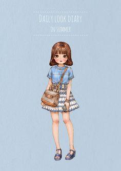더운 여름, 시원한 복장의 그녀들. During a hot summer, there are cool outfits of girls to wear.