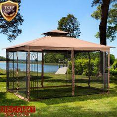 Large Steel Gazebo Canopy Patio Tent 11 X 13 Metal Frame Mosquito Netting New #LargeSteelGazeboCanopy #Party