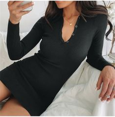 Autumn Solid Color Sexy Lapel Long Sleeve Dress Date Outfits, Sexy Outfits, Date Night Dresses, Black Long Sleeve Dress, Blush Dresses, Pretty Little, Autumn, Skirts, Sleeves