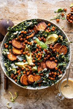 Kale Caesar Salad with Sweet Potatoes and Crispy Chickpeas | halfbakedharvest.com #caesarsalad #kale Caesar Salat, Kale Caesar Salad, Herb Salad, Arugula Salad, Cucumber Salad, Healthy Salads, Healthy Eating, Healthy Recipes, Canning Recipes
