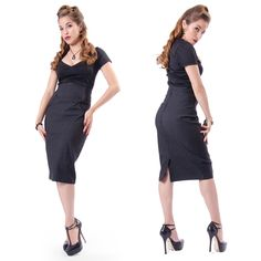 Show off your curves in this retro pin-up girl inspired pencil skirt!  Made of stretchy dark charcoal grey fabric it features scrolly black double bass/ hollowbody guitar/ violin inspired appliques at each hip, a back zipper closure, and a slit in the back for easy walking.