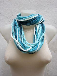Scarf Crochet Scarf Fiber infinity Crochet Necklace by scarfnurlu