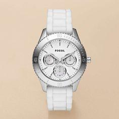 FOSSIL Women Stella Silicone Watch - White ES2888